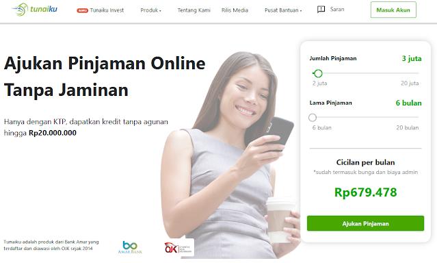 Simulasi Perhitungan Pinjaman Online di Website Tunaiku.com