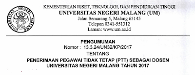 Lowongan Dosen Universitas Negeri Malang Tahun 2017