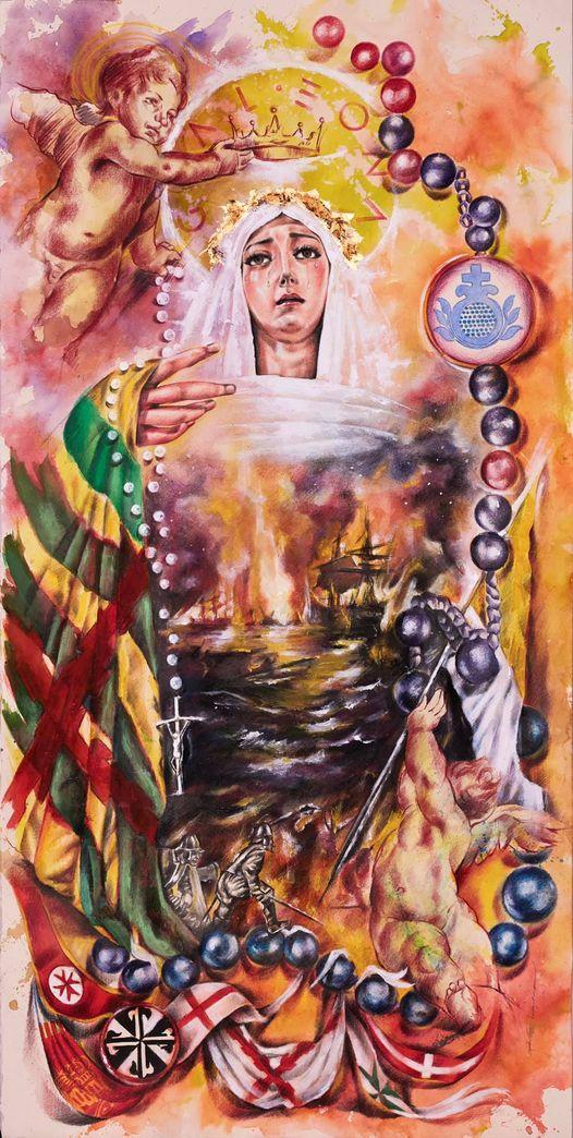Cartel del 450 Aniversario de la Victoria en la Batalla de Lepanto y la Divina Intercesión de la Santísima Virgen Del Rosario