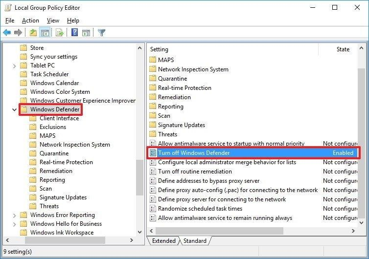 Sử dụng Local Group Policy để tắt Windows Defender