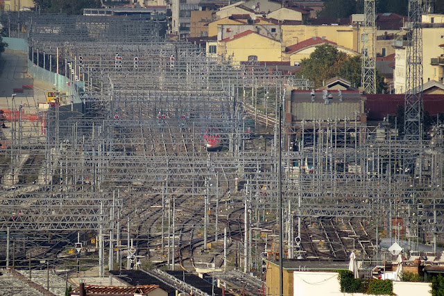Overhead wires and lines near the main railway station, seen from the Boboli Gardens, Florence