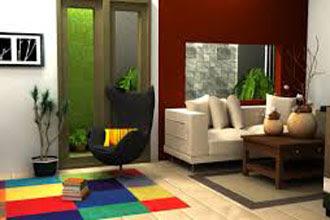 warna cat ruang tamu 2 warna coklat dan putih