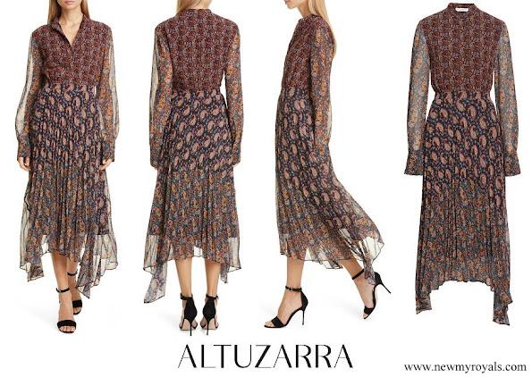 Queen Maxima wore Altuzarra Asymmetrical Paisley Print Long Sleeve Midi Dress