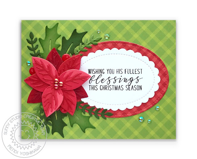 Sunny Studio Holiday Card (using Inside Greetings Christmas Stamps, All Is Bright Paper, Classic Gingham Paper, Pristine Poinsettia, Winter Greenery, Stitched Oval 2 & Scalloped Oval Mat 1 Dies)