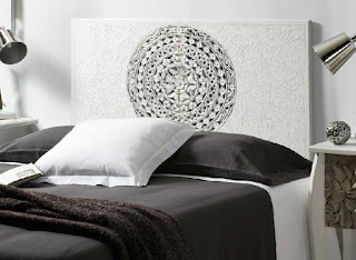 cabecero cama tallado en blanco decape