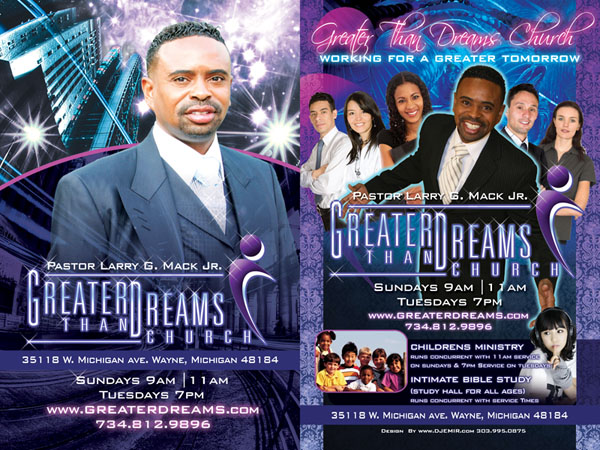 Greater Than Dreams Church with Pastor Larry Mack Flyer Design