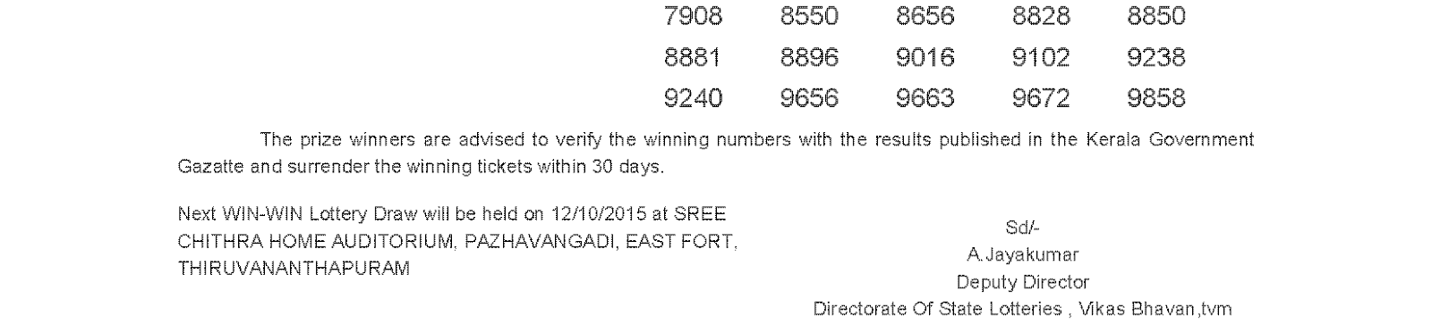 WIN WIN Lottery W 328 Result 5-10-2015