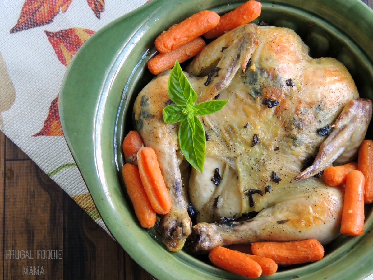 Basil and Garlic Slow Cooker Roasted Chicken via thefrugalfoodiemama.com - a simple & flavorful roasted chicken that you make in your slow cooker #SlowCookerMeals