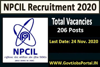 NPCIL Recruitment 2021  Govt Jobs for 206 Assistant, Stenos and Other Posts