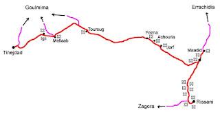 Mapa de Tinejdad hasta Rissani.