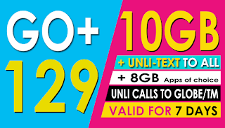 Globe Go+129 – 10GB data + 8GB choice of apps for only 129 Pesos