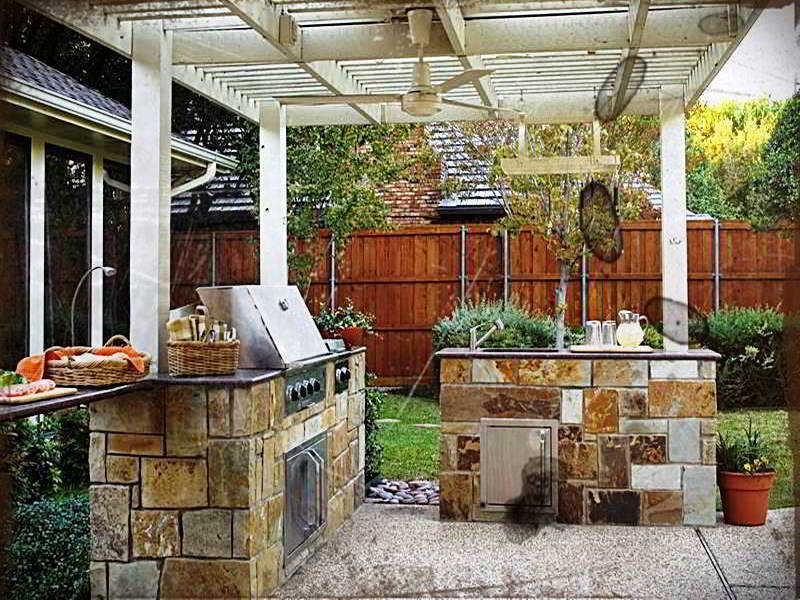 Desain Dapur Terbuka Dengan Taman