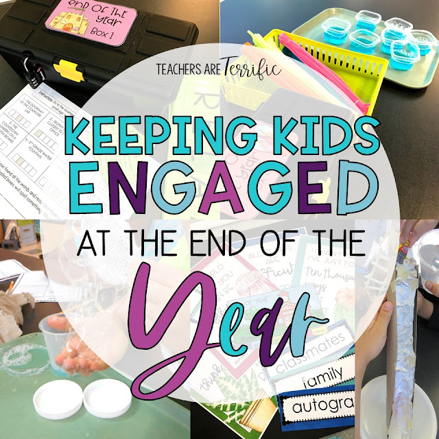 Ways to keep students engaged during the busy spring months leading to the last day of school. The post includes escape rooms, STEM, flip books, and tips!