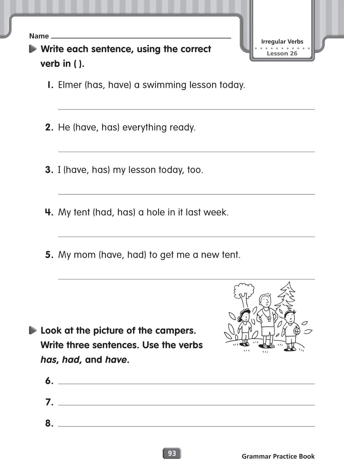 Grammar Worksheets Irregular Verbs
