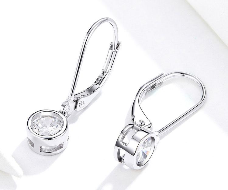 極簡風單鑽式 925純銀耳環