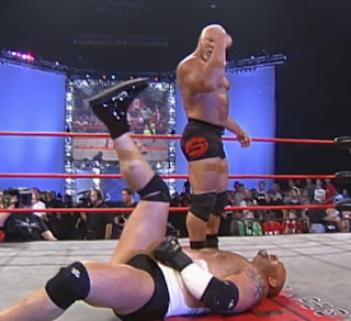 WCW New Blood Rising 2000 -  Scott Steiner gets ready to drop an elbow on Goldberg