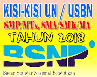 Kisi-Kisi Ujian Nasional dan USBN SMP/MTs, SMA/MA/SMK/SMAK Tahun 2017/2018