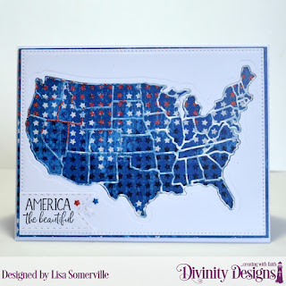 Divinity Designs Stamp Set: America the Beautiful, Paper Collection: Patriotic, Custom Dies: USA Map, Pierced Rectangles, Double Stitched Pennant Flags