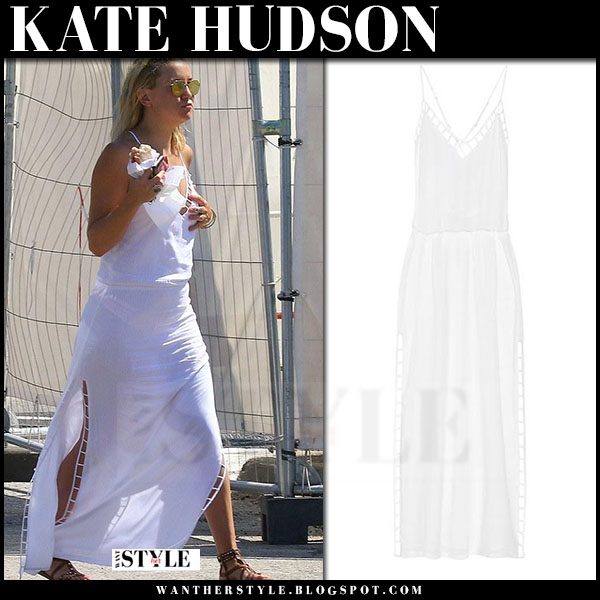 Kate Hudson in white maxi summer dress vix lud what she wore