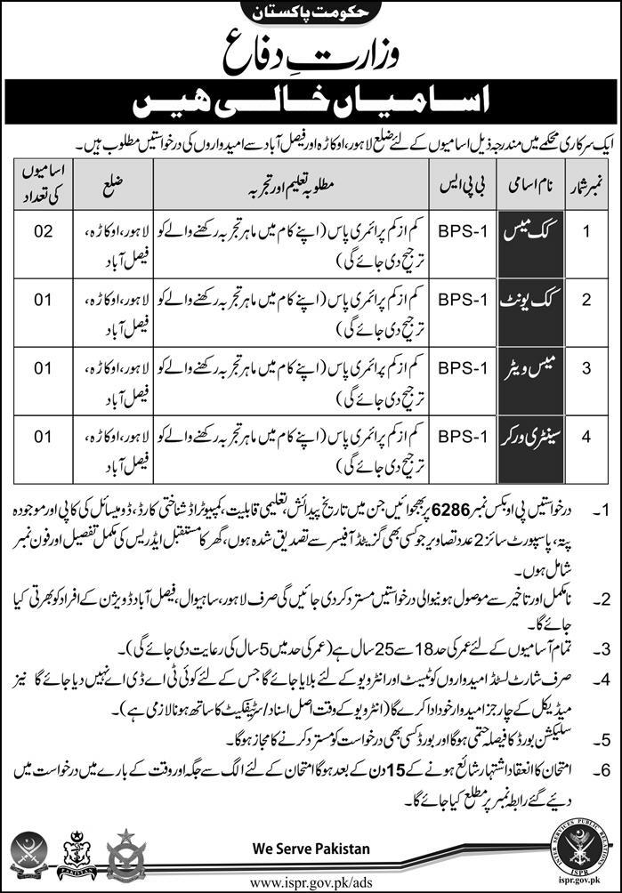 Jobs In Ministry Of Defence Punjab Dec 2017
