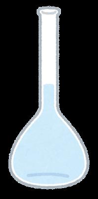 メスフラスコのイラスト(液体が入った状態)