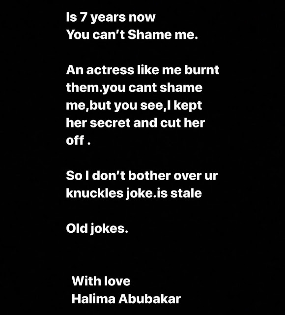 I dont bleach an actress like me burnt my laps, hand and feet- Halima Abubakar reacts