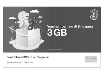 Dapatkan Voucher Gratis Kuota Tri 3GB Roaming Singapura