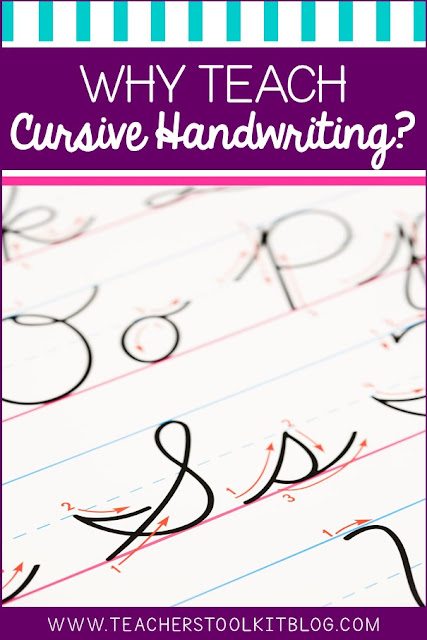 "Image of cursive handwriting on notepaper, with text ""why teach cursive handwriting"""