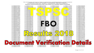 TSPSC FBO Results 2018 Telangana Forest Beat Officers DV Starts 02-07-2018
