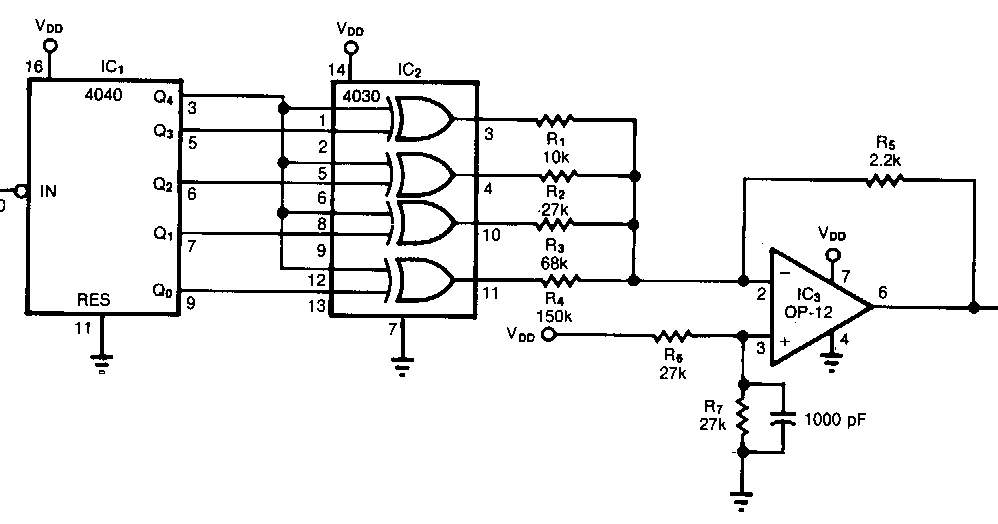 Pulse train to sinusoid Converter Wiring diagram Schematic