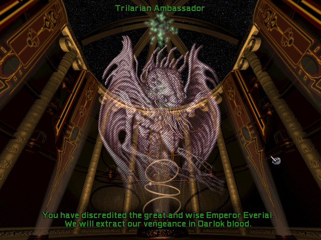 Screenshot from Master of Orion II of the Trilarians