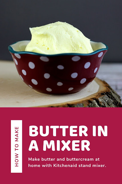 How to make butter with Kitchenaid at home from heavy cream.  This is an easy and simple way to make butter with kids or by yourself.  It's quick to make it in mixer from cream.  This makes 2 cups of butter and 2 cups of buttermilk.  If you are wondering how do you make butter at home, check out how to make it in mixer. #butter #recipe