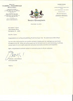 Image of the letter from Senator McGarrigle