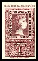 Filatelia - Centenario del Sello español (1950) - Valor de 1 peseta - Correo aéreo