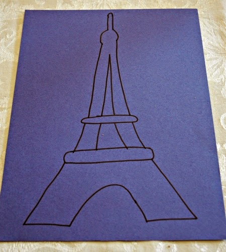 Outline Drawing of Eiffel Tower