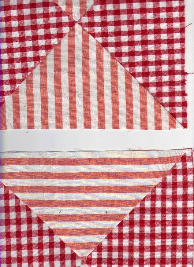 Quilt blocks showing effect of white stripe between