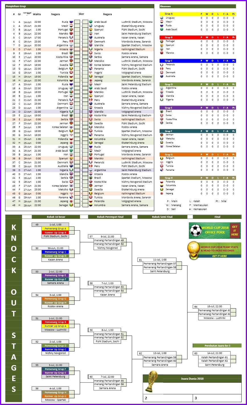 Jadwal Piala Dunia Rusia 2018 Format Excel
