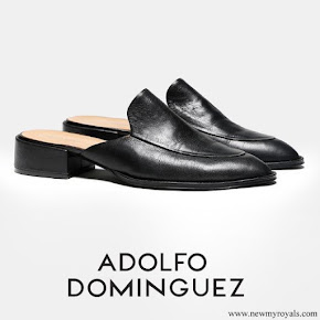 Queen Letizia wore Adolfo Dominguez medium heel mule slippers