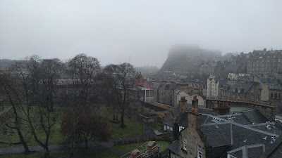 Edinburgh castle in the fog