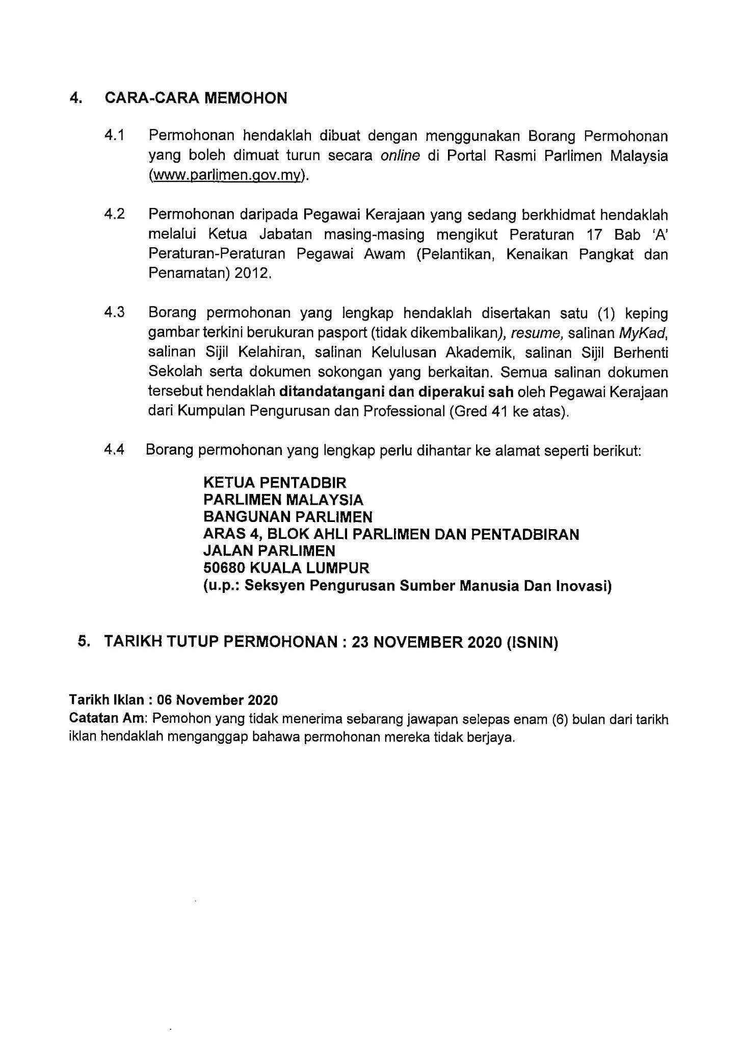 Jawatan Kosong di Parlimen Malaysia - 23 November 2020 ...