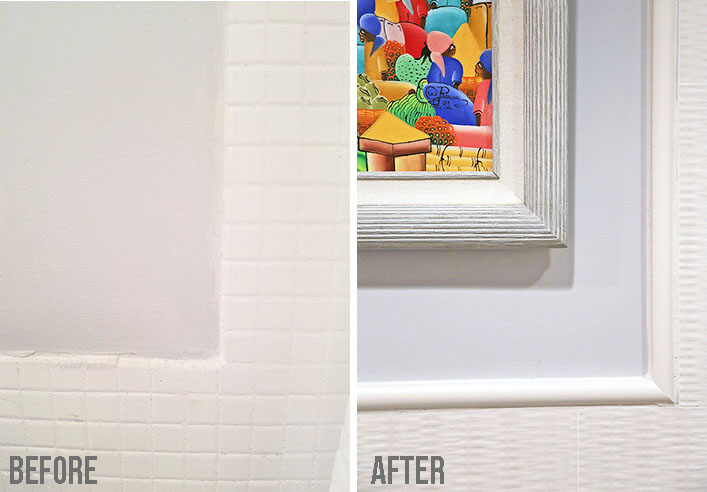 Small bathroom makeover with before and after of tile molding detail