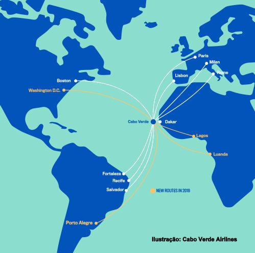 Mapa de rotas da Cabo Verde Airlines
