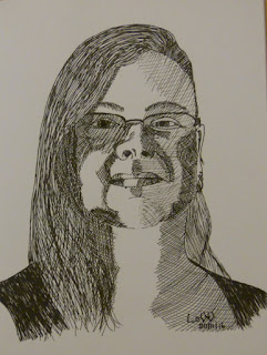 Linzé Brandon, self-portrait, art, pen and ink sketch