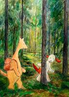 Postikortti, kuvitus, missä Hulmu Hukka ja Haukku Koira ovat metsäretkellä / Postcard illustration of Hulmu and Haukku dog in forest trekking