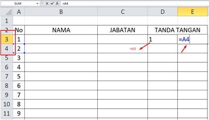 Pembuatan Daftar Hadir Model 2