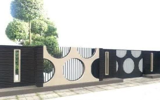 pagar rumah minimalis dengan bahan kombinasi besi dan batu alam