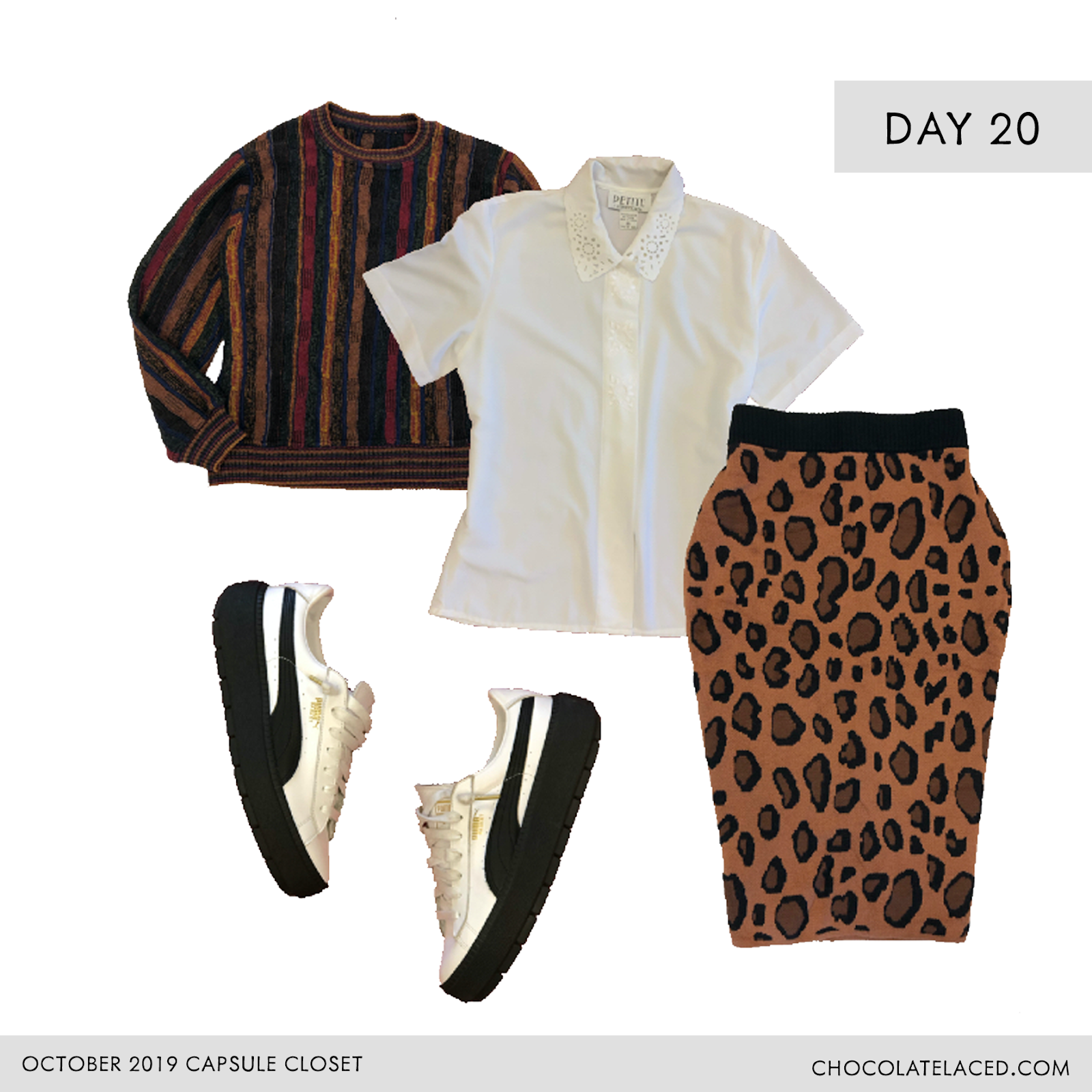 striped Cosby sweater, leopard skirt, vintage white blouse, puma gum sole sneakers