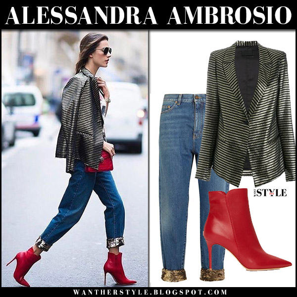 Alessandra Ambrosio in striped blazer, cropped jeans and red ankle boots in Paris september 29 2017 fashion week outfits
