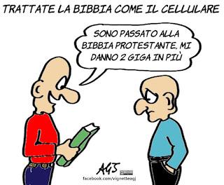 papa francesco, bibbia, smartphone, satira, vignetta