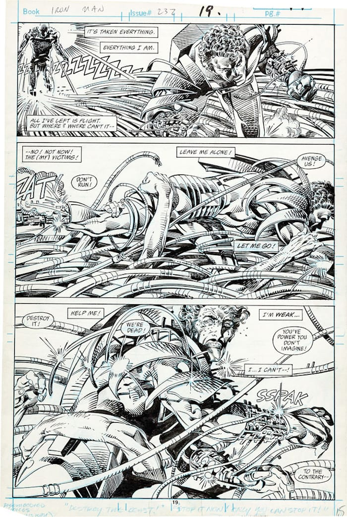 Iron Man #232 original marvel 1980s comic book art page by Barry Windsor Smith
